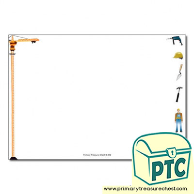 Construction Site Themed Landscape Page Border/Writing Frame (no lines)
