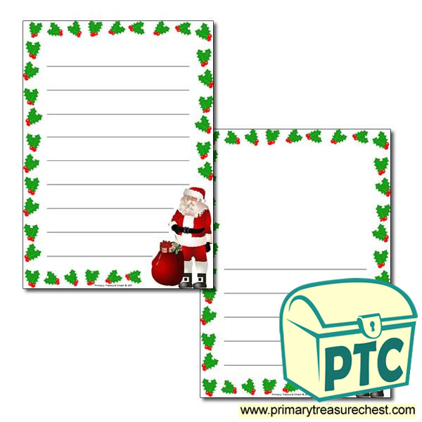 Santa With Holly Page Border / Writing Frame (wide Lines