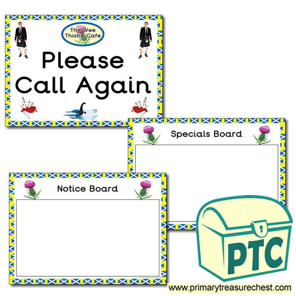 Scottish Cafe Role Play Notice board and Call Again Signs
