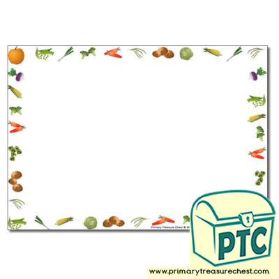 Vegetable Themed Landscape Page Borders Writing Frames No