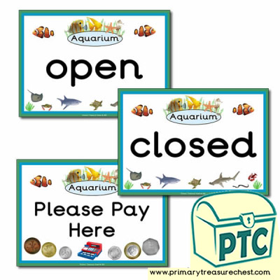 Aquarium Role Play Open/Closed Signs