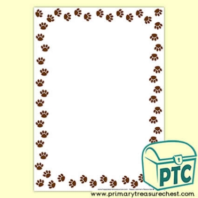 Animal Paw Print Page Border /Writing Frame (no lines)