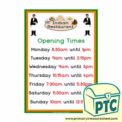 Indian Restaurant Role Play Opening Times (Quarter & Half Past)