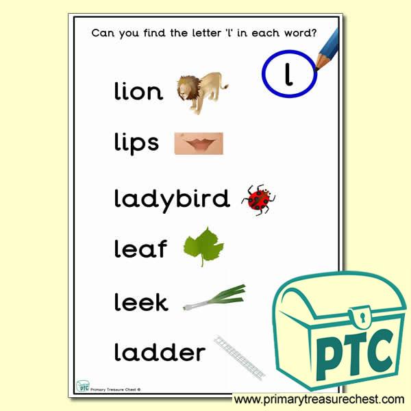 Find the Letter 'l' Activity Sheet
