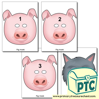 Three Little Pigs Role Play Masks. Pigs Numbered 1 to 3
