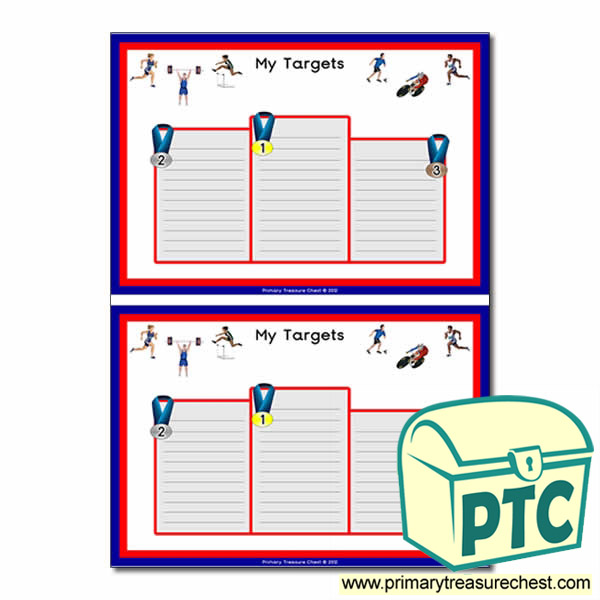 Sporting/Podium Themed Pupil Target Sheets