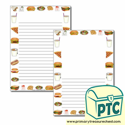 Fast Food Takeaway Themed Page Border/Writing Frame (narrow lines)