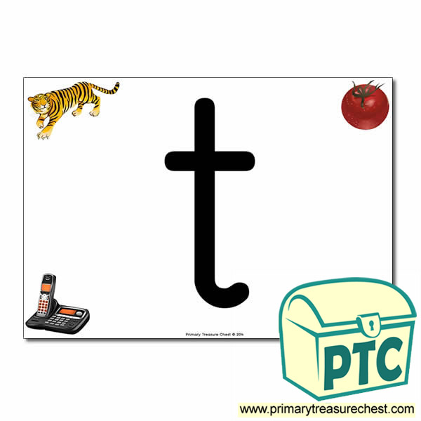 't' Lowercase  Letter A4 Poster containing high quality realistic images.