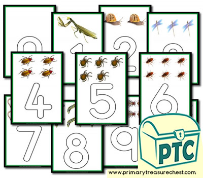 Minibeasts Themed Number Playdough Mats 0 to 10