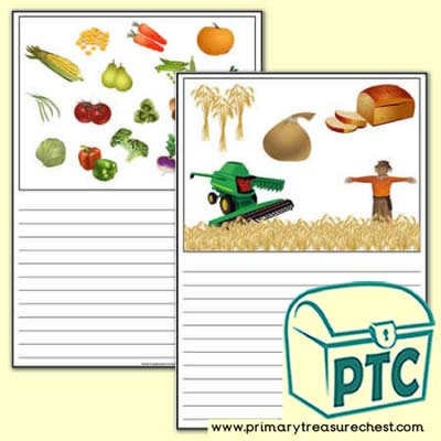 Harvest Themed Writing Activity Worksheet  (Narrow Lines)