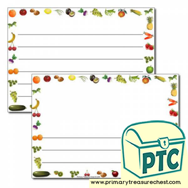 Fruit and Vegetables themed Landscape Page Border /Writing Frame (wide lines)