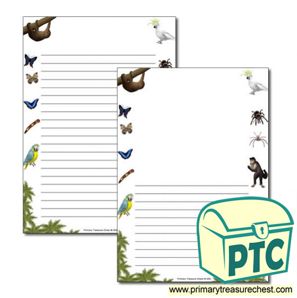 Rainforest II themed Page Border/ Writing Frames (narrow lines)