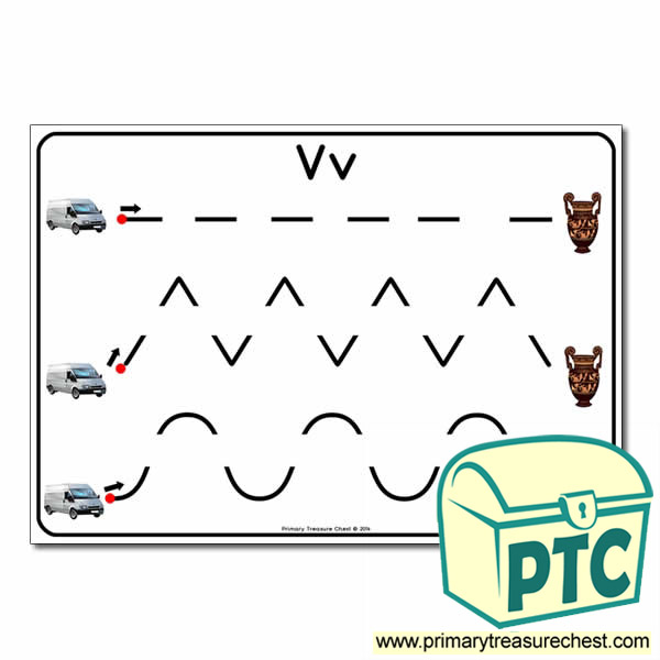 'Vv' Themed Pre-Writing Patterns Activity Sheet