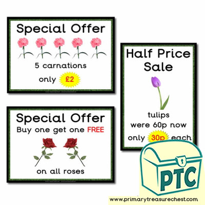 Role Play Garden Centre Flowers Special Offers Posters (21p-£99)