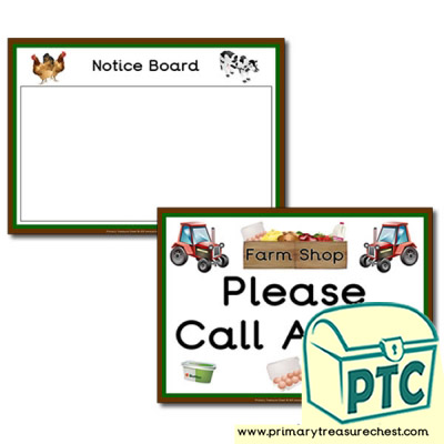 Farm Shop Role Play Signs