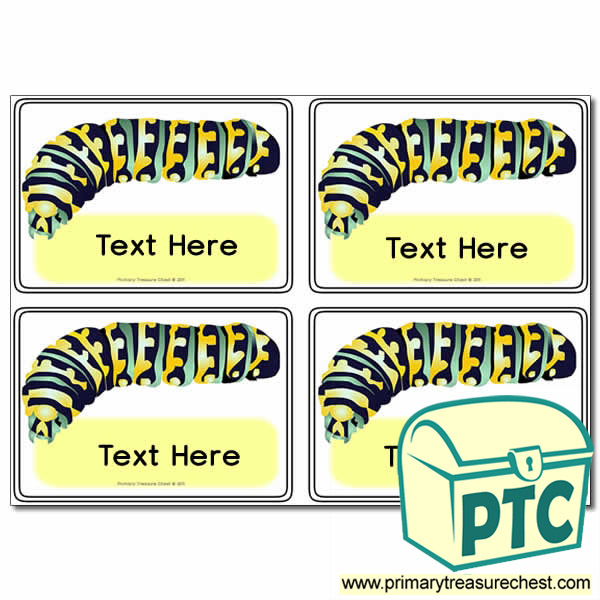 Minibeasts - Caterpillar Themed Registration Name Cards