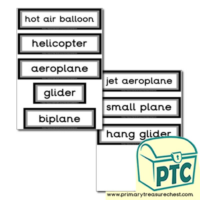 Air Transport Themed Display Words