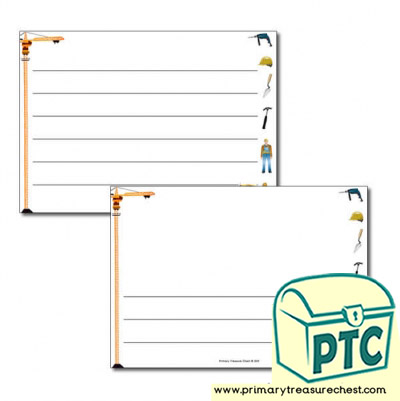 Construction Site Themed Landscape Page Border/Writing Frame (wide lines)