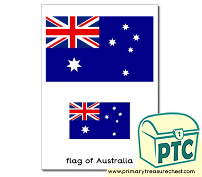 One large and one small Australian flag on an A4 sheet.