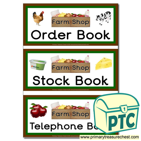 Farm Shop Role Play Book Covers / Labels