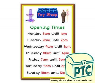 1960s Toy Shop Opening Times (O'clock)