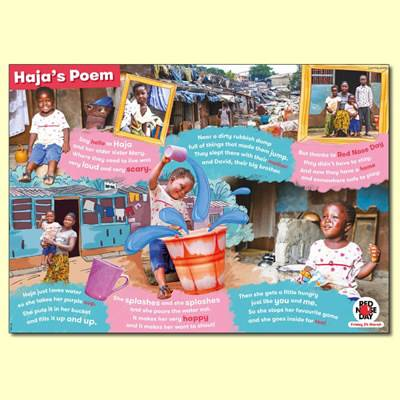 A4 poster, all about Haja's story and 'Haja's Poem'.