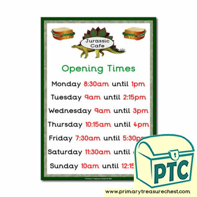 Dinosaur Park Cafe Role Play Opening Times (Quarter & Half Past)