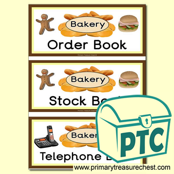 Bakery Role Play Book Covers / Labels