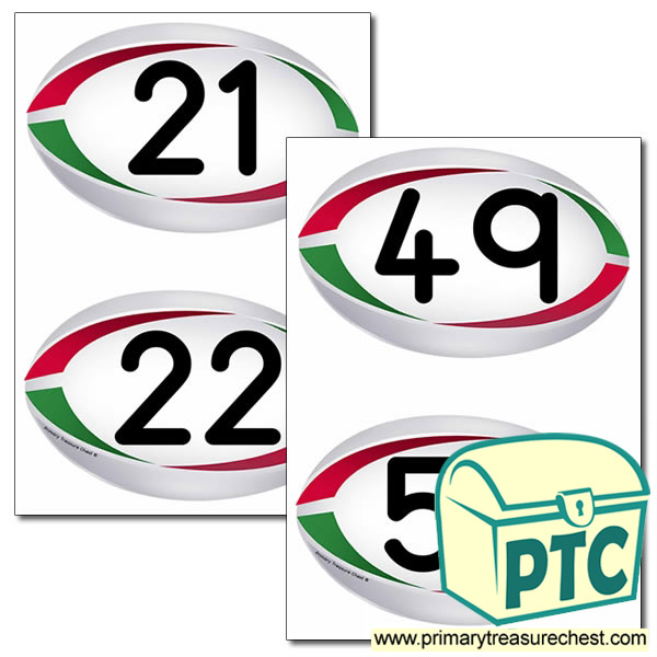 Rugby Ball Themed Numbers 21 to 50