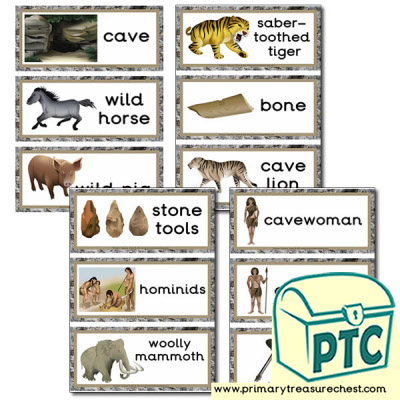 Early Man / Caveman Themed Flashcards
