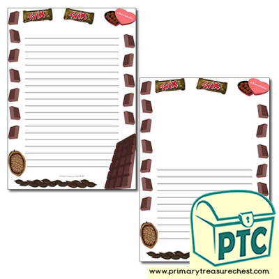 Chocolate Themed Page Borders/Writing Frames (narrow lines)