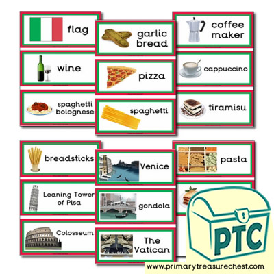 Italy Themed Flashcards