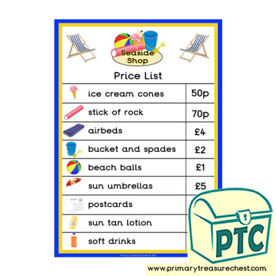 Seaside Shop Price List Poster (21p-£99)