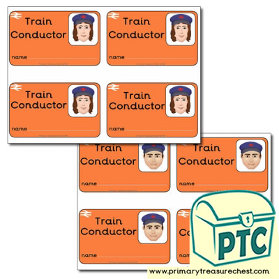 Role Play Train Conductor ID Badges