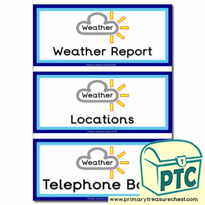 'Weather Desk' Role Play Book Covers / Labels
