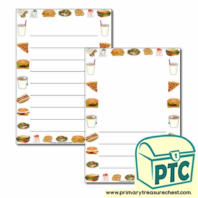 Fast Food Takeaway Themed Page Border/Writing Frame (wide lines)