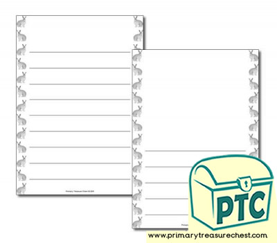 Arctic Hare themed Page Borders/Writing Frames (wide lines)