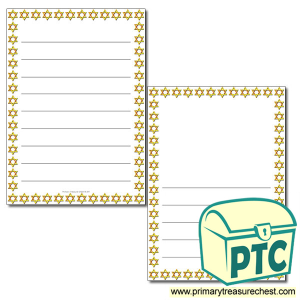 Star Of David Themed Page Border Writing Frame Wide