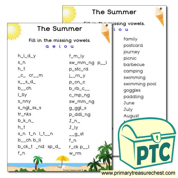 Summer Themed Vowels Worksheet
