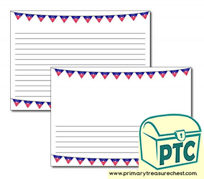 Juneteenth Bunting Landscape Page Border/Writing Frame (narrow lines)
