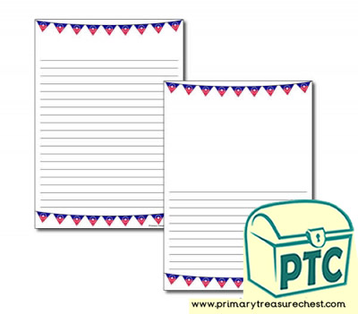 Juneteenth Bunting Themed Page Border/Writing Frame (narrow lines)
