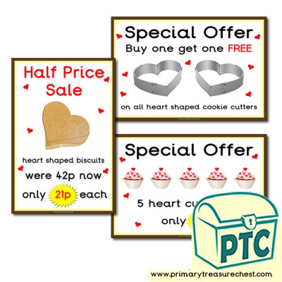 St. Valentine's Day Cake/Biscuit Special Offer Posters (21p to £99)