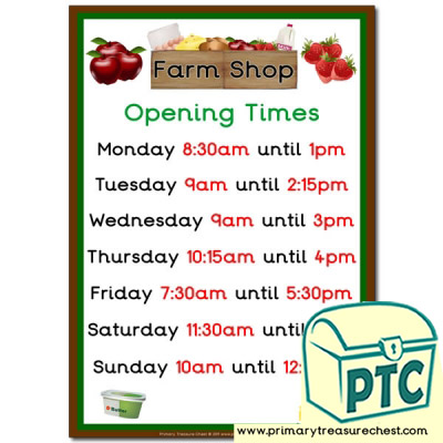 Farm Shop Role Play Opening Times Sign (Quarter & Half Past)