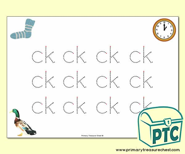 'ck' Double Letter Formation Activity - Join the Dots