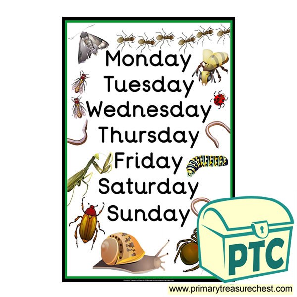 Days of the Week Minibeast Poster