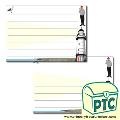 Lighthouse Themed Landscape Page Border/Writing Frame (wide lines)