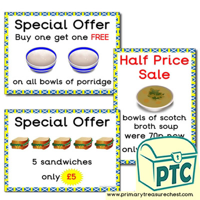 Scottish Cafe Role Play Special Offers  (21p to £99)