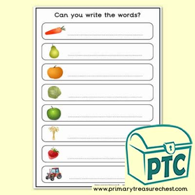 Harvest Topic Words Worksheet - No Letters