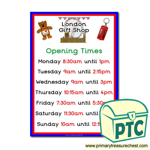 London Gift Shop Opening Times (quarter & half past)