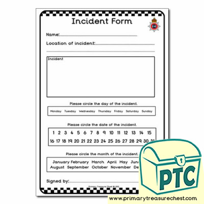 Police Station Role Play  Incident Form Worksheet